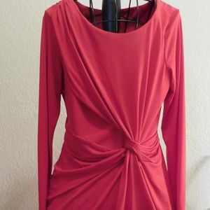 Calvin Klein Red Knot Drape Jersey Dress 12